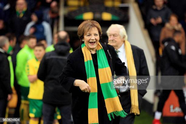 Norwich City Majority Shareholder Delia Smith during the Sky Bet Championship match between Norwich City and Leeds United at Carrow Road on April 28...