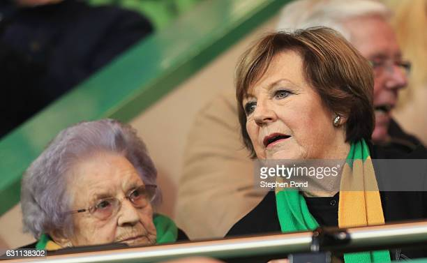 Norwich City majority shareholder Delia Smith is seen in the stand prior to the Emirates FA Cup Third Round match between Norwich City and...