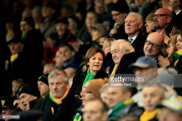 Norwich City Majority Shareholder Delia Smith looks on during the Sky Bet Championship match between Norwich City and Sheffield United at Carrow Road...