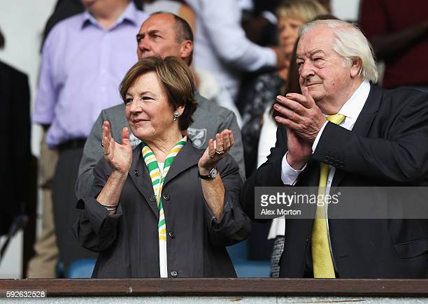 Norwich City majority shareholders Delia Smith and Michael WynnJones applaud prior to the Sky Bet Championship match between Ipswich Town and Norwich...