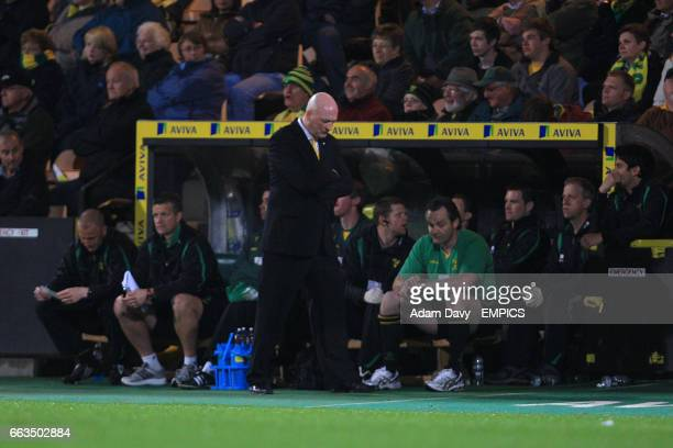 Norwich City manager Bryan Gunn appears dejected on the touchline