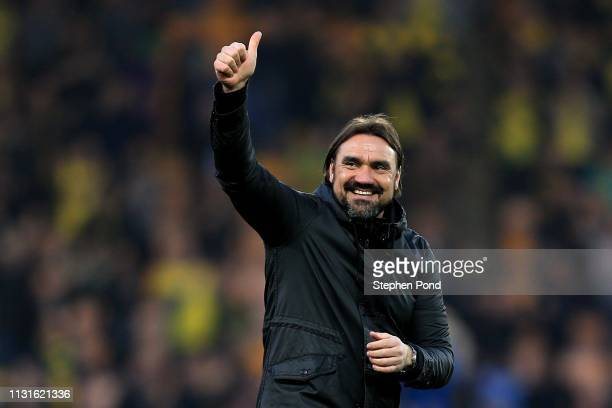 Norwich City Manager Daniel Farke celebrates victory after full time during the Sky Bet Championship match between Norwich City and Bristol City at...