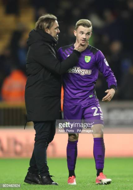 Norwich City manager Daniel Farke congratulates James Maddison after the Sky Bet Championship match at Molineux Wolverhampton