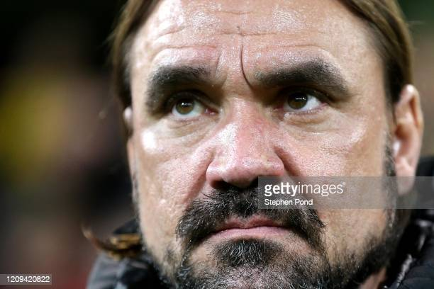 Norwich City Manager Daniel Farke during the Premier League match between Norwich City and Leicester City at Carrow Road on February 28, 2020 in...
