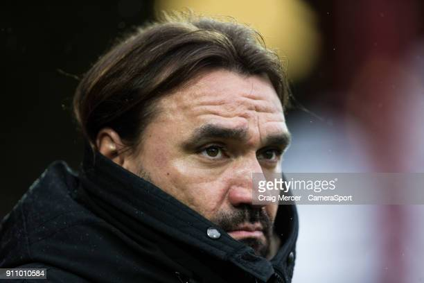 Norwich City manager Daniel Farke during the Sky Bet Championship match between Brentford and Norwich City at Griffin Park on January 27, 2018 in...
