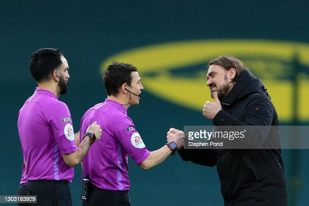 Norwich City Manager Daniel Farke greets Referee Tony Harringtion following victory in the Sky Bet Championship match between Norwich City and...