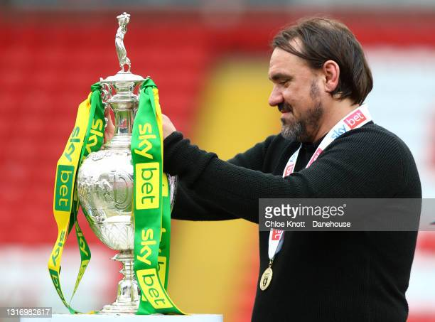Norwich City Manager Daniel Farke holds the Sky Bet Championship trophy during the Sky Bet Championship match between Barnsley and Norwich City at...