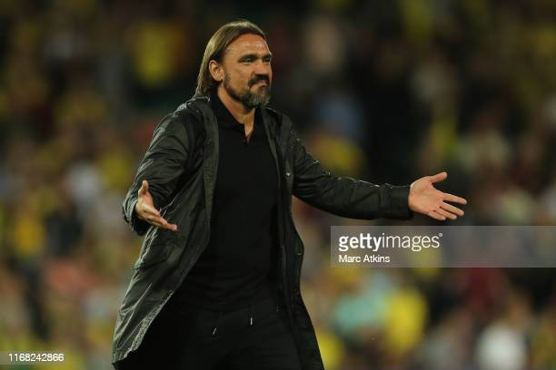 Norwich City manager Daniel Farke reacts during the Premier League match between Norwich City and Manchester City at Carrow Road on September 14,...