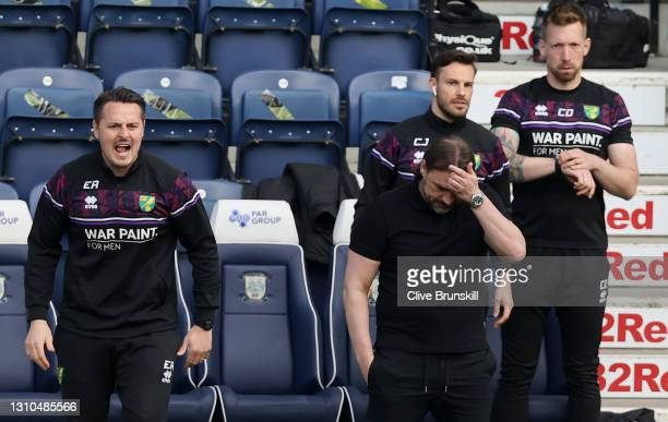 Norwich City manager Daniel Farke shows his dejection during the Sky Bet Championship match between Preston North End and Norwich City at Deepdale on...