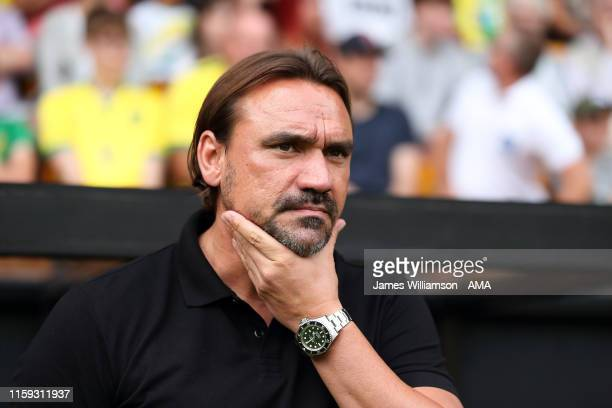 Norwich City manager / head coach Daniel Farke during a pre-season friendly between Norwich City and Toulouse at Carrow Road on August 3, 2019 in...