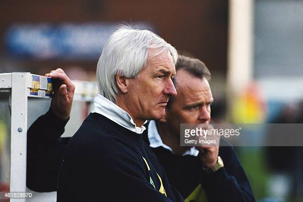 Norwich City manager Mike Walker and assistant John Deehan look on during an FA Premier League match between Wimbledon and Norwich City at Selhurst...