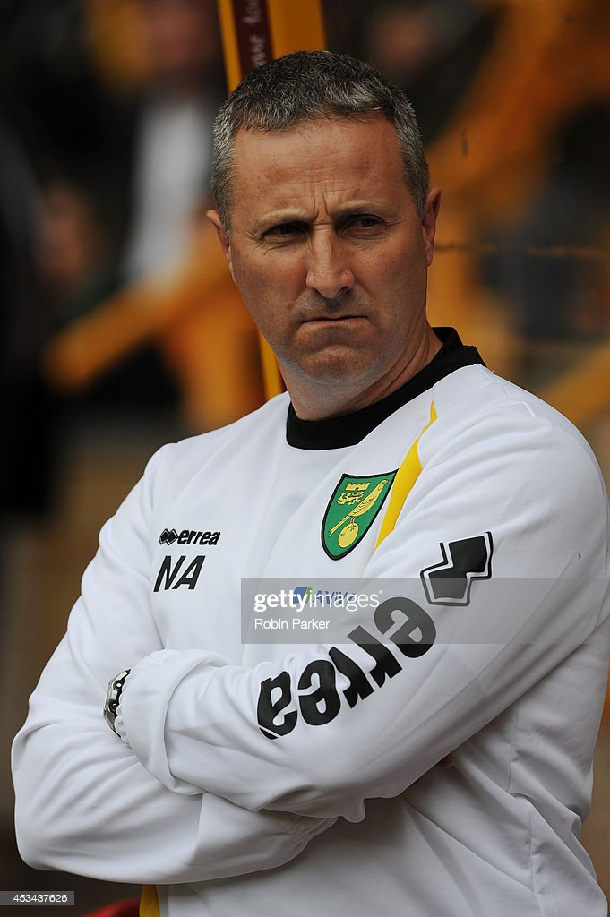 Norwich City manager Neil Adams before the start of the Sky Bet Championship match between Wolverhampton Wanderers and Norwich City at the Molineux Stadium on August 10, 2014 in Wolverhampton, England.