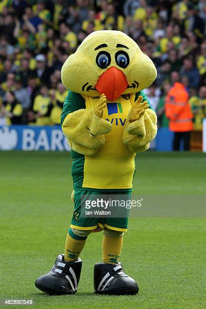 Norwich City mascot Captain Canary claps prior to the Barclays Premier League match between Norwich City and West Bromwich Albion at Carrow Road on...