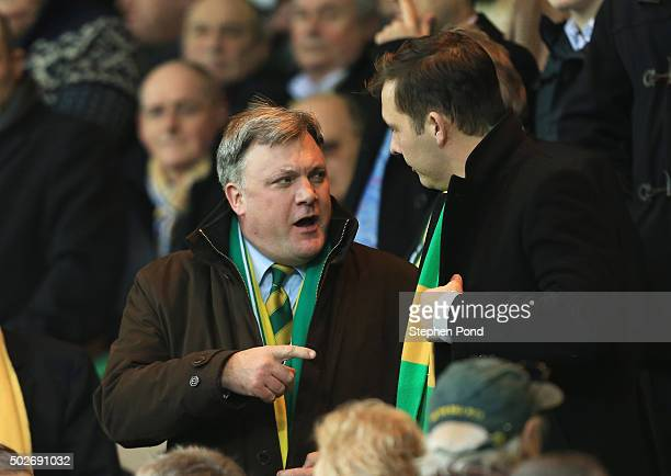 Norwich City new Chairman Ed Balls is seen on the stand prior to the Barclays Premier League match between Norwich City and Aston Villa at Carrow...