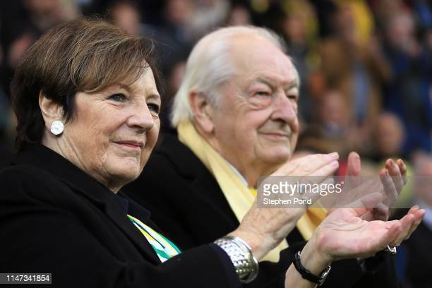 Norwich City owners Delia Smith and Michael WynnJones celebrate during the Norwich City Championship victory celebration day at Carrow Road on May 06...