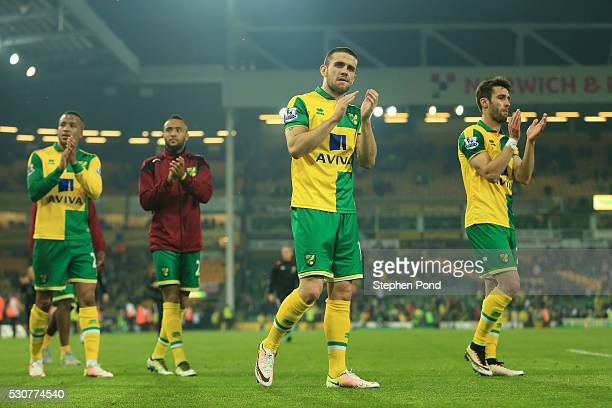 Norwich City players applaud supporters following relegation during the Barclays Premier League match between Norwich City and Watford at Carrow Road...