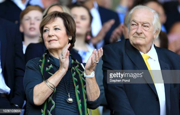 Norwich City shareholders Delia Smith and Michael WynnJones look on prior to the Sky Bet Championship match between Ipswich Town and Norwich City at...