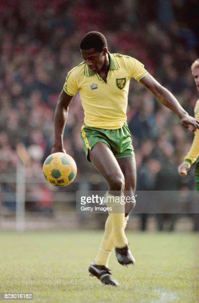 Norwich City striker Justin Fashanu in action at Carrow Road circa 1981 in Norwich England