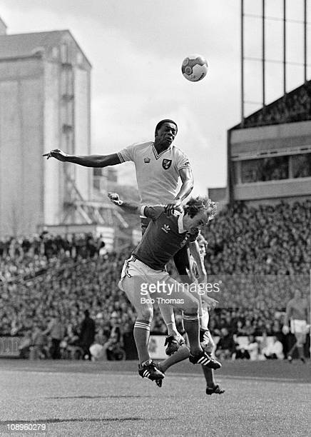 Norwich City striker Justin Fashanu outjumps Ipswich Town captain Mick Mills during their First Division match at Carrow Road in Norwich 20th April...