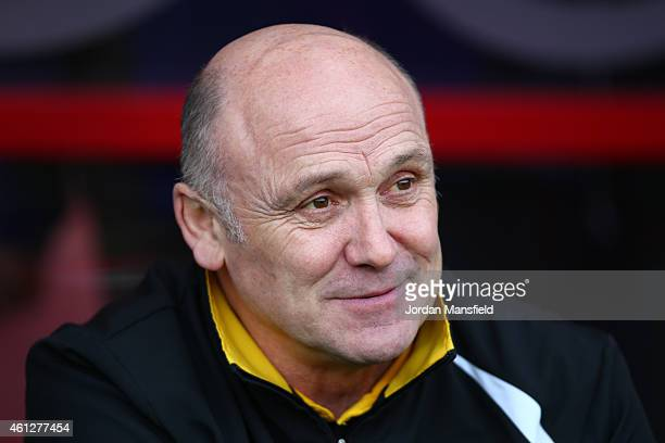 Norwich City team coach Mike Phelan looks on prior to the Sky Bet Championship match between AFC Bournemouth and Norwich City at Goldsands Stadium on...