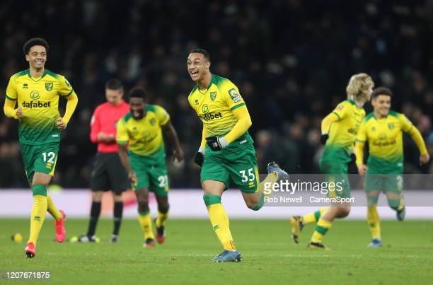 Norwich City's Adam Idah leads the Norwich celebrations after they had won the penalty shootout during the FA Cup Fifth Round match between Tottenham...
