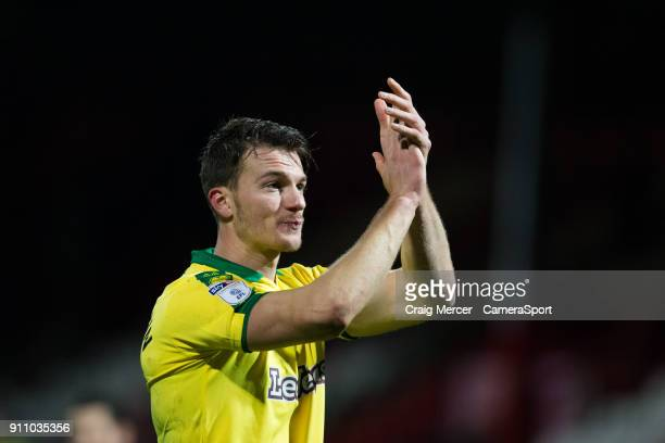 Norwich City's Christoph Zimmermann applauds the fans at the final whistle during the Sky Bet Championship match between Brentford and Norwich City...