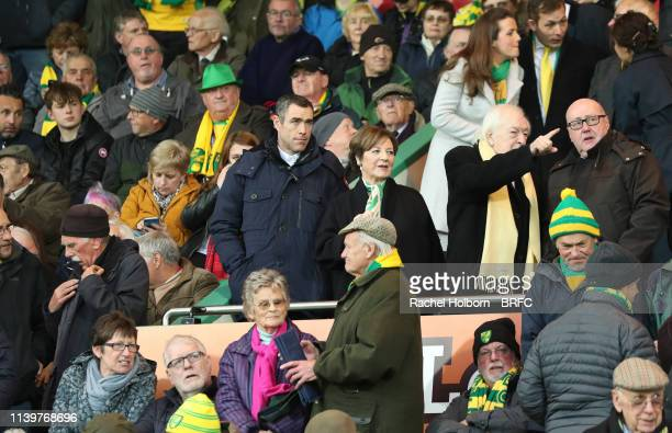 Norwich City's Director Delia Smith with her husband Michael WynnJones during the Sky Bet Championship match between Norwich City and Blackburn...