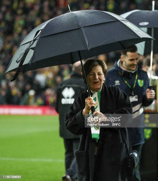 Norwich City's Director Delia Smithduring the Sky Bet Championship match between Norwich City and Blackburn Rovers at Carrow Road on April 27 2019 in...
