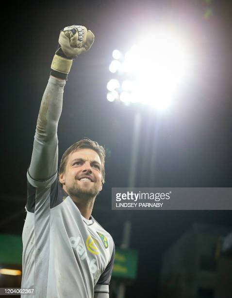 Norwich City's Dutch goalkeeper Tim Krul reacts at the end of the game during the English Premier League football match between Norwich City and...