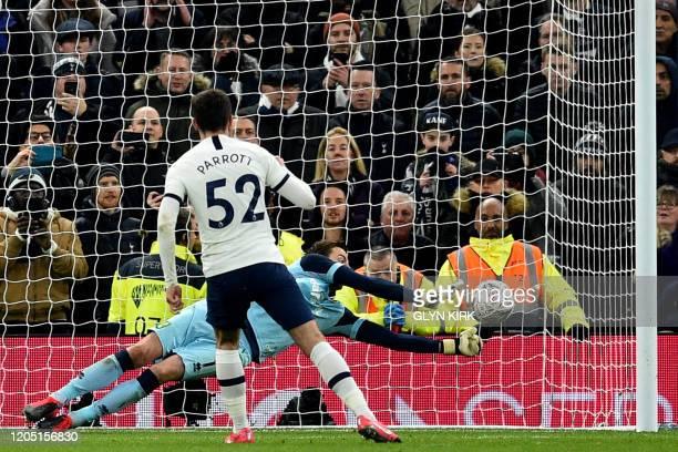 Norwich City's Dutch goalkeeper Tim Krul saves Tottenham Hotspur's Irish striker Troy Parrott penalty during the English FA Cup fifth round football...
