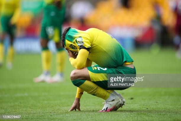 Norwich City's English defender Max Aarons reacts at the end of the English Premier League football match between Norwich City and West Ham United at...
