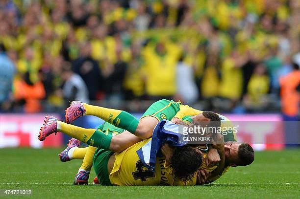 Norwich City's English midfielder Bradley Johnson Norwich City's Swedish defender Martin Olsson and Norwich City's English striker Gary Hooper...