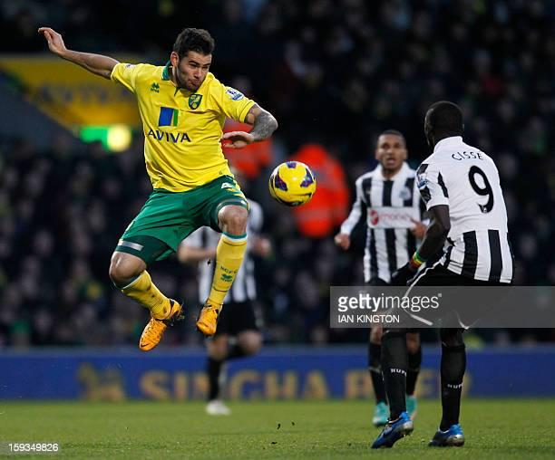 Norwich City's English midfielder Bradley Johnson vies with Newcastle United's Senegalese striker Papiss Cisse during the English Premier League...