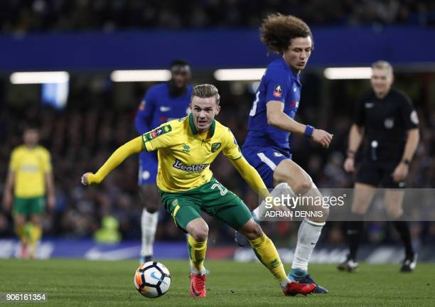 Norwich City's English midfielder James Maddison vies with Chelsea's Brazilian defender David Luiz during the FA Cup third round replay football...