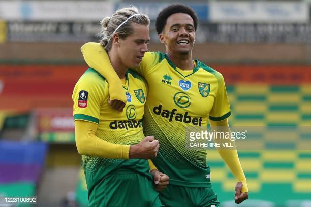 Norwich City's English midfielder Todd Cantwell celebrates after scoring their first goal to equalise 1-1 with Norwich City's English-born Northern...