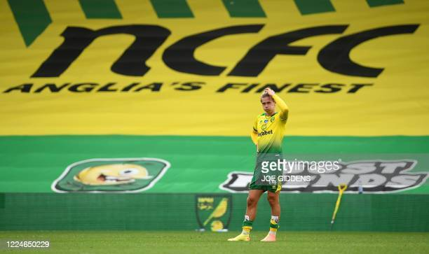 Norwich City's English midfielder Todd Cantwell reacts after the English Premier League football match between Norwich City and Brighton and Hove...