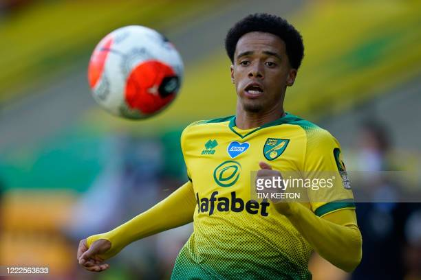 Norwich City's English-born Northern Irish defender Jamal Lewis runs for the ball during the English Premier League football match between Norwich...
