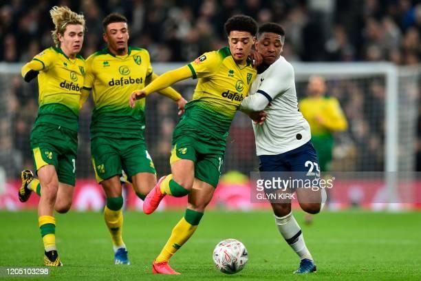 Norwich City's Englishborn Northern Irish defender Jamal Lewis vies for the ball with Tottenham Hotspur's Dutch midfielder Steven Bergwijn during the...