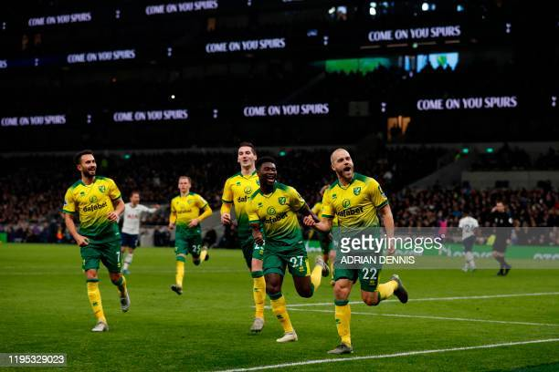 Norwich City's Finnish striker Teemu Pukki celebrates scoring their first goal to equalise 11 during the English Premier League football match...