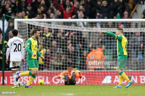 Norwich City's Gary Hooper celebrates scoring their first goal of the game
