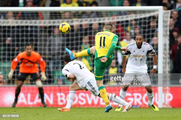 Norwich City's Gary Hooper scores their first goal of the game