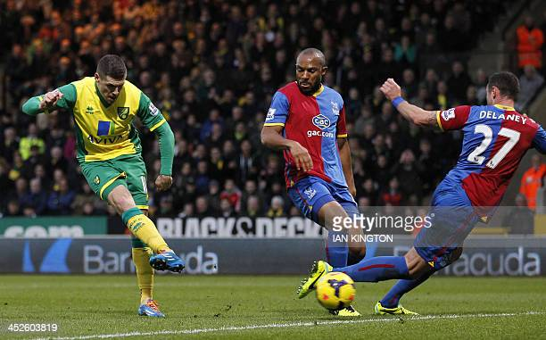 Norwich City's Gary Hooper shoots to score a goal during the English Premier League football match between Norwich City and Crystal Palace at Carrow...