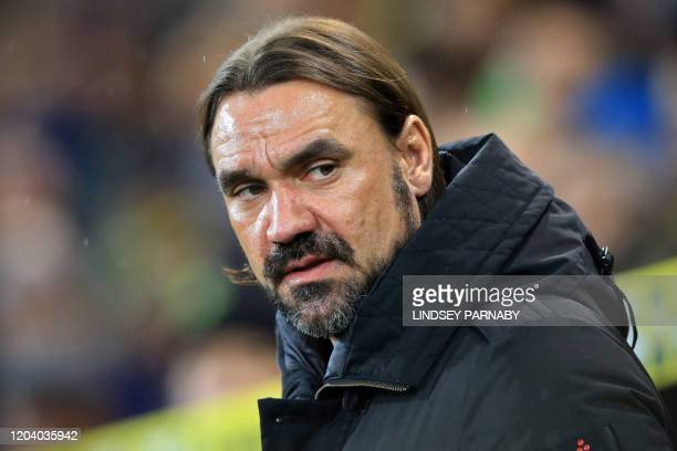 Norwich City's German head coach Daniel Farke looks on during the English Premier League football match between Norwich City and Leicester City at...