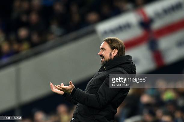Norwich City's German head coach Daniel Farke shouts instructions to his players from the touchline during the English FA Cup fifth round football...