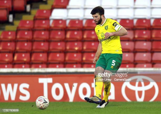 Norwich City's Grant Hanley during the The Emirates FA Cup Fourth Round match between Barnsley and Norwich City at Oakwell Stadium on January 23,...