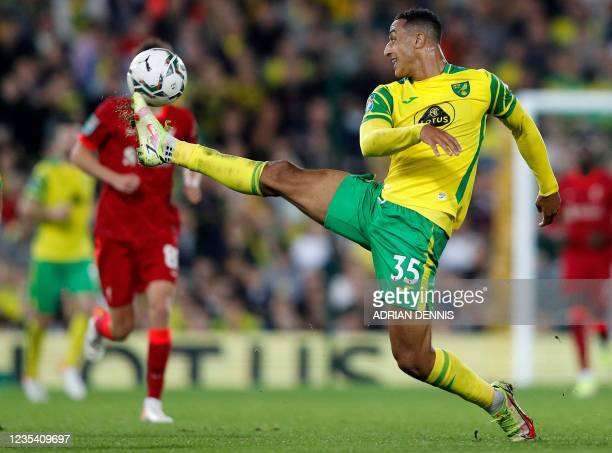 Norwich City's Irish striker Adam Idah controls the ball during the English League Cup third round football match between Norwich City and Liverpool...