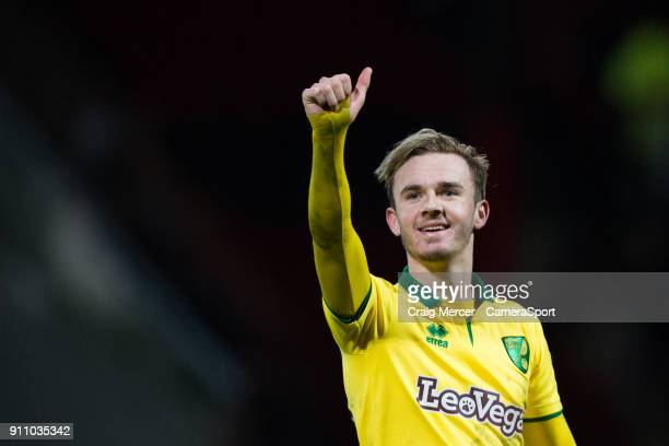 Norwich City's James Maddison celebrates his side's victory at full time during the Sky Bet Championship match between Brentford and Norwich City at...