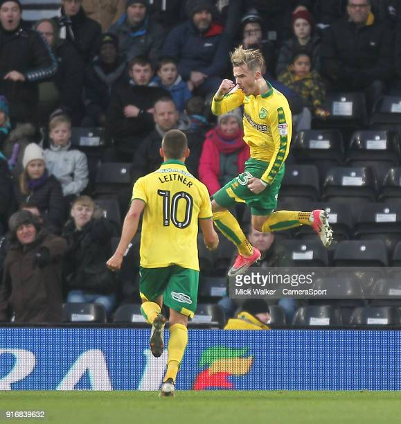 Norwich City's James Maddison celebrates scoring his sides first goal during the Sky Bet Championship match between Derby County and Norwich City at...