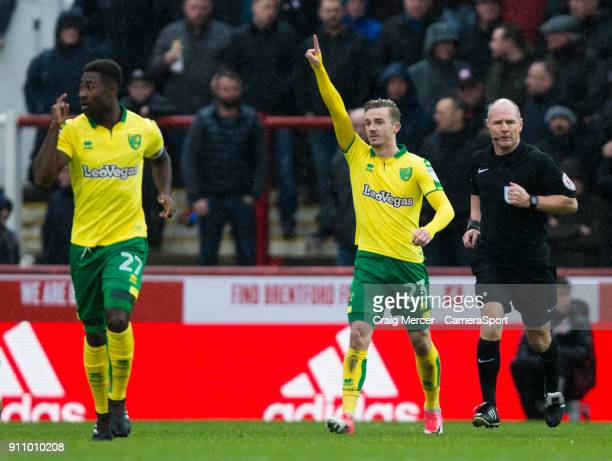 Norwich City's James Maddison celebrates scoring the opening goal during the Sky Bet Championship match between Brentford and Norwich City at Griffin...