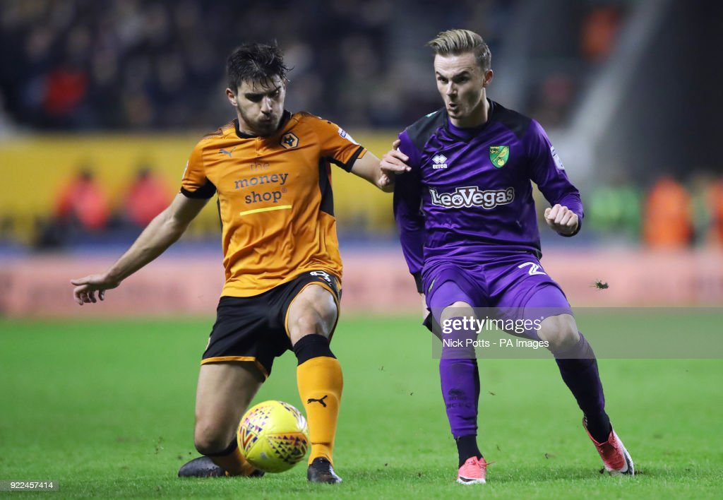 Norwich City's James Maddison holds off a challenge from Wolverhampton Wanderers' Ruben Neves (left) during the Sky Bet Championship match at Molineux, Wolverhampton.